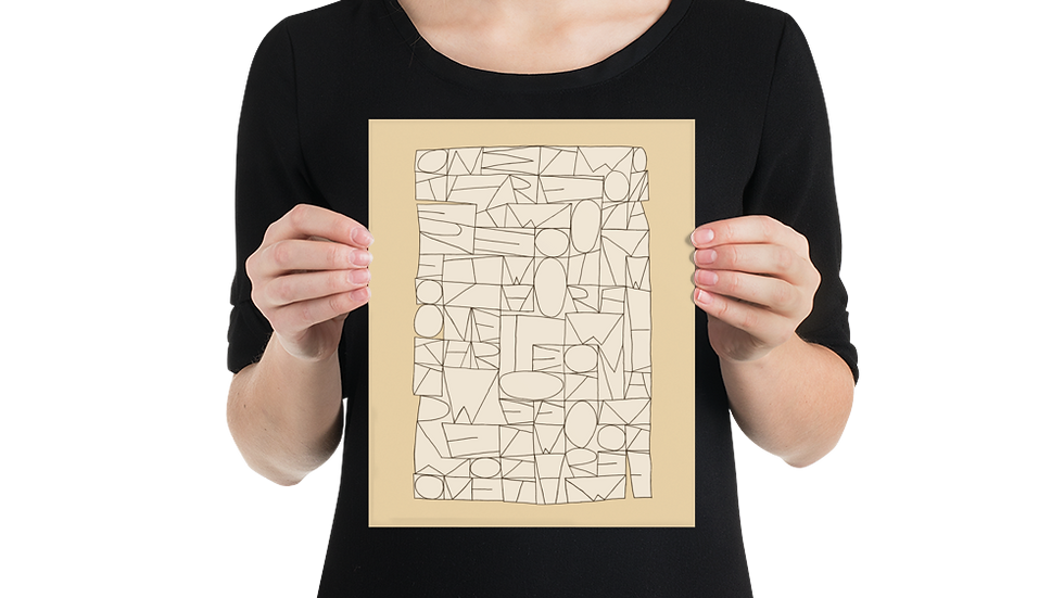 POSTER PRINT: Modern, sandy / yellow beige, Paul Klee-inspired line drawing