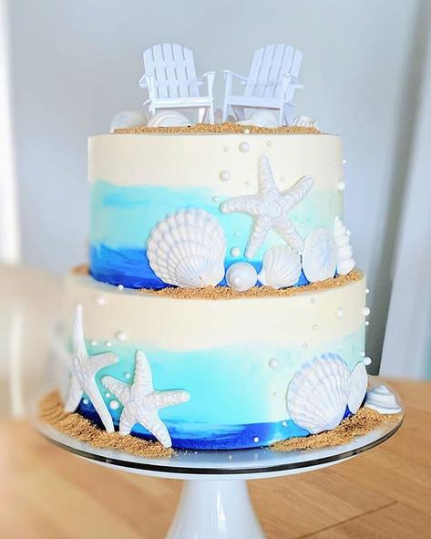 Watercolor Buttercream Wedding Cake 🌊🐚