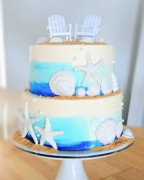 Watercolor Buttercream Wedding Cake 🌊🐚