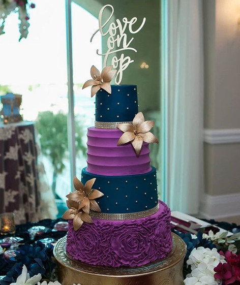 Gorgeous Navy and Purple Orchid colored