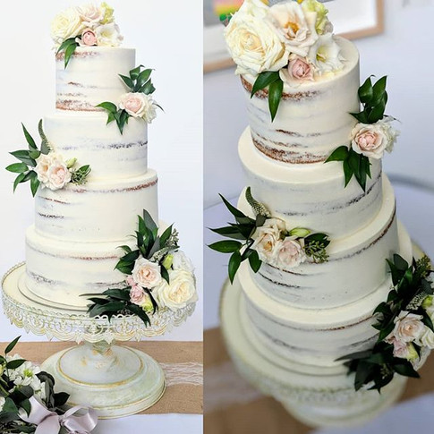 Gorgeous semi-naked cake with fresh flow