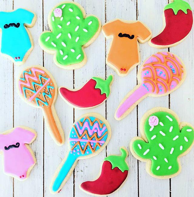Fiesta Baby Shower Cookies 🌶️🌮🌵🍼 #fi