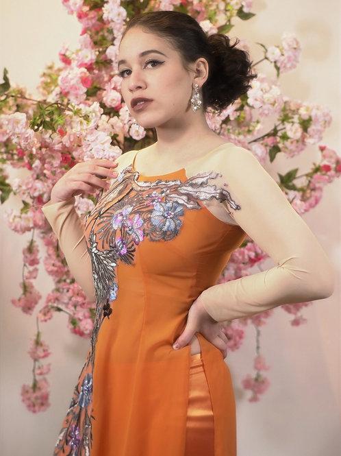 Orange Ao dai with Floral Applique