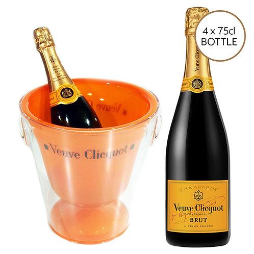 4 x Veuve Clicquot (75cl) & Ice Bucket