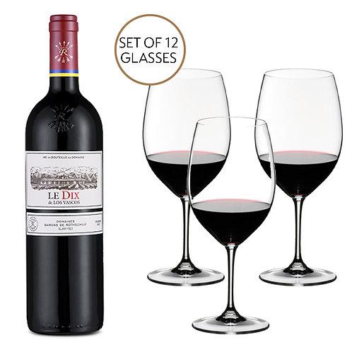 6 x Le Dix de Los Vascos & Riedel Restaurant Glasses