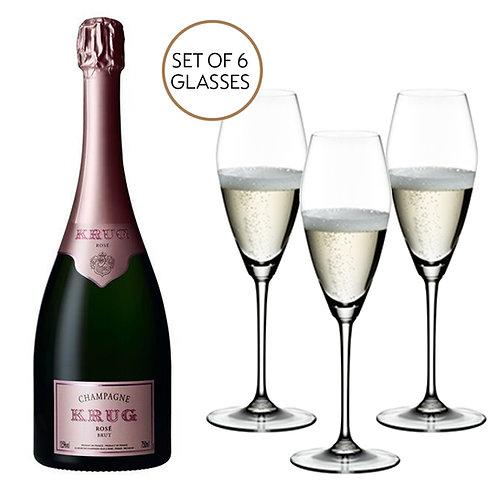 2 x Krug Rosé & Riedel Extreme Glasses