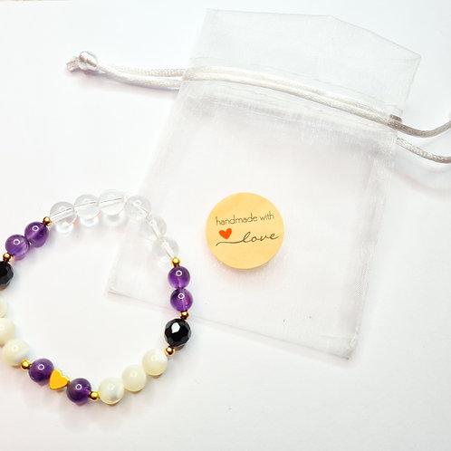 Armband #peacefulmind mit Perlmutt, Bergkristall, Onyx und Amethyst