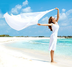 Beautiful Girl With White Scarf Jumping