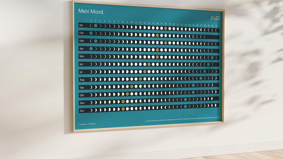 """DIN A2 Poster """"Mondkalender 2022"""" (ohne Rahmen)"""