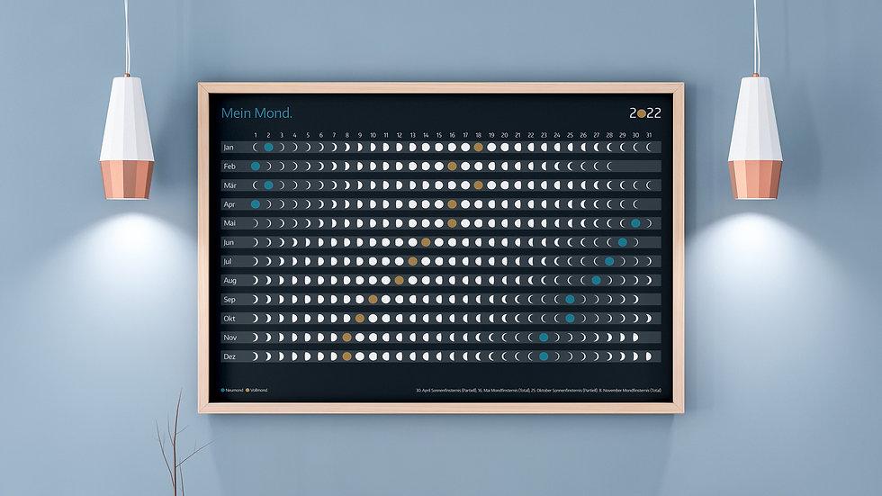 """DIN A3 Poster """"Mondkalender 2022"""" (ohne Rahmen)"""