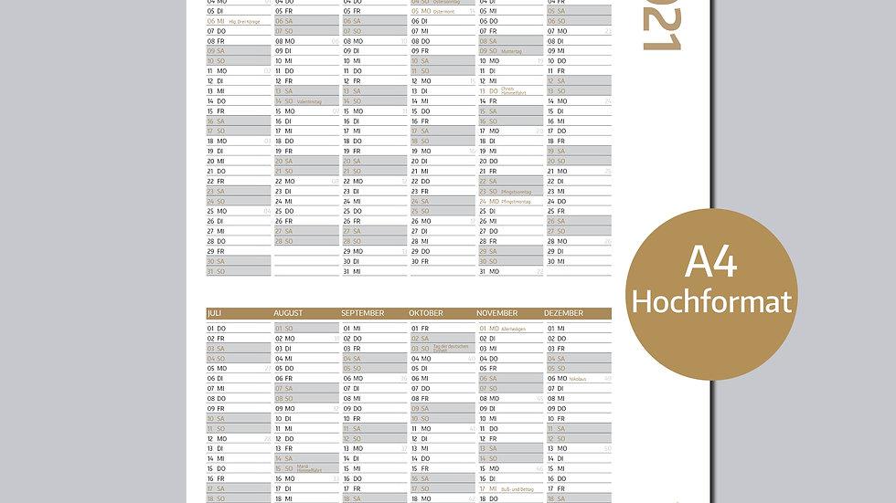 Jahresplaner 2021, DIN A4 Hochformat