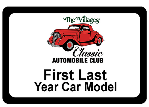 Classic Auto Club Name Tag