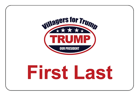 Villagers for Trump Name Tag