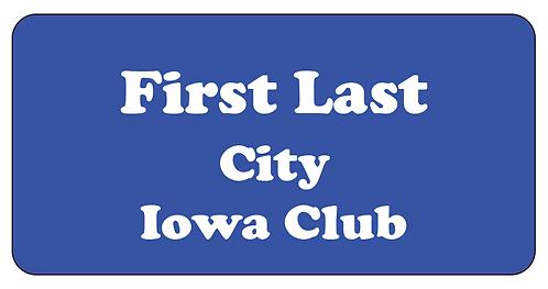 Iowa Club Name Tag