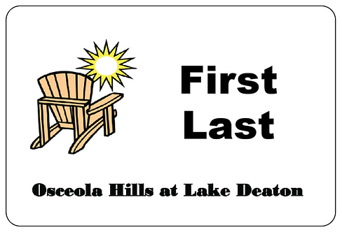 Osceola Hills Lake Deaton Name Tag
