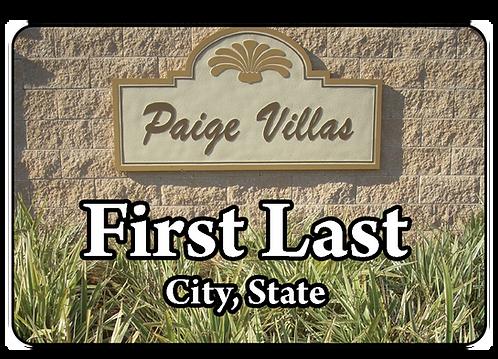 Paige Villas Name Tag