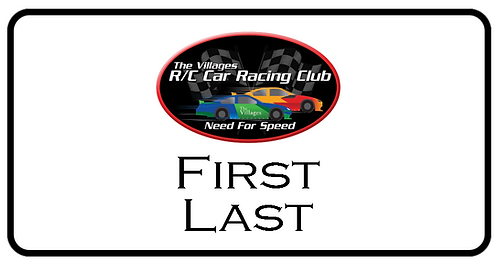 RC Car Club Name Tag