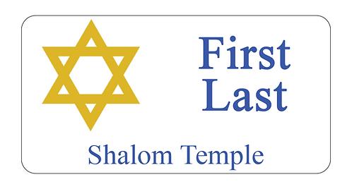 Shalom Temple Name Tag