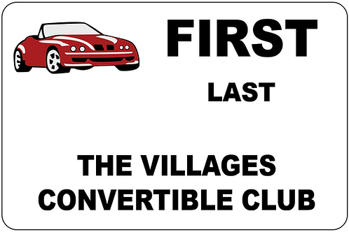 The Villages Convertible Club Name Tag