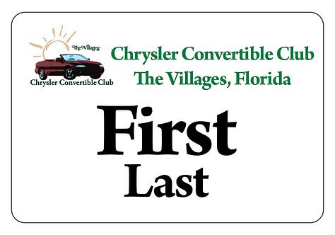 Chrysler Convertible Club Name Tag