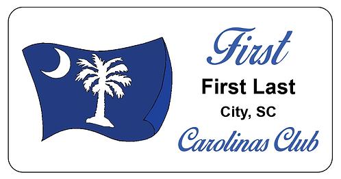 South Carolina Club Name Tag