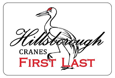 Hillsborough Cranes Name Tag