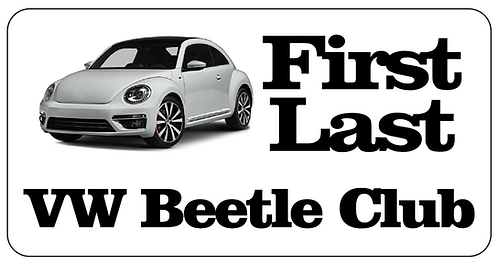 VW Beetle Club Name Tag