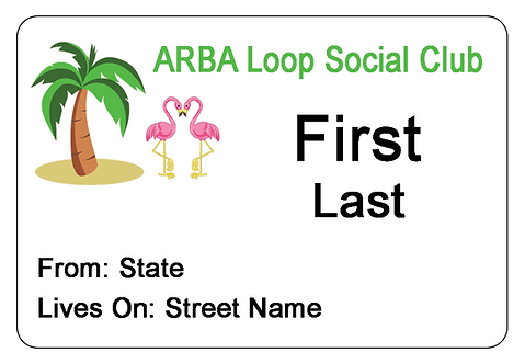 ARBA Loop Social Club Name Tag