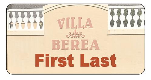 Villa Berea Name Tag