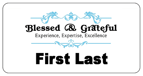 Blessed & Grateful Name Tag