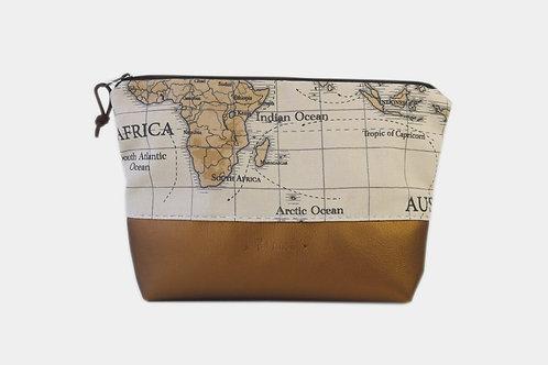 Grande trousse brune avec map monde