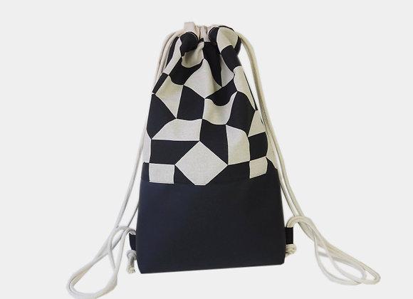 Sac à dos beige avec motifs géométriques