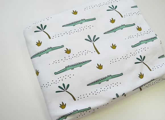 Tissu croco blanc  (150 cm de large et 150 de haut)