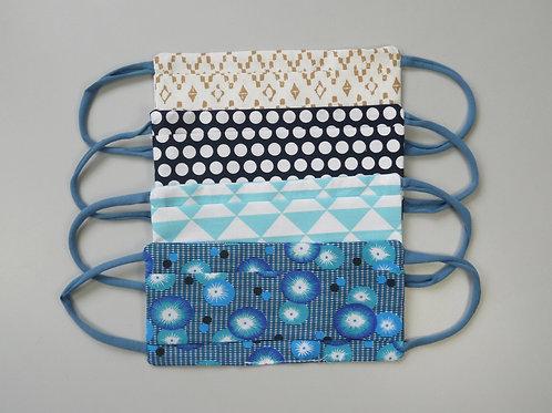"""Masque en tissu série """"triangles bleus"""" (vente à l'unité)"""