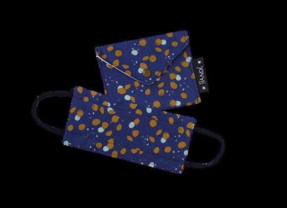 Set bleu avec points ocres