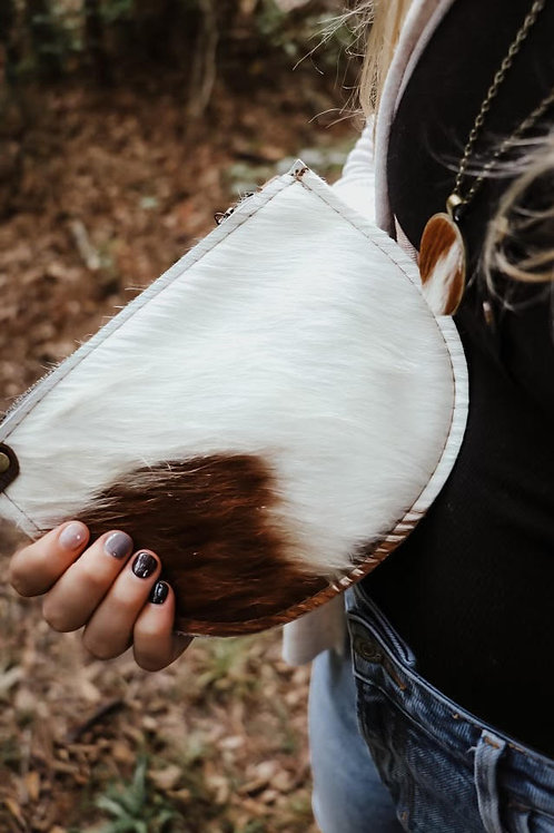 Half Moon Cowhide Wristlet - Brown and White