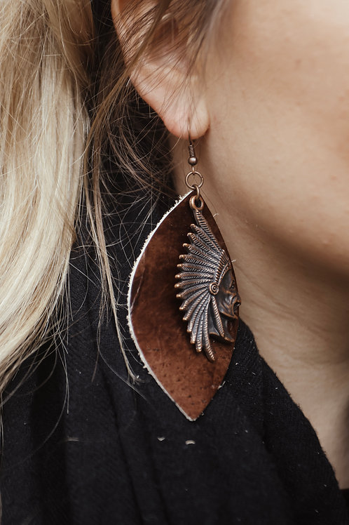 Leather Oval Earrings with Indian Head
