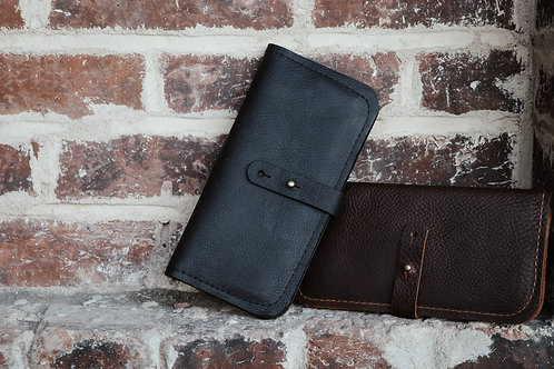 Leather Check Wallet with Zip Pouch