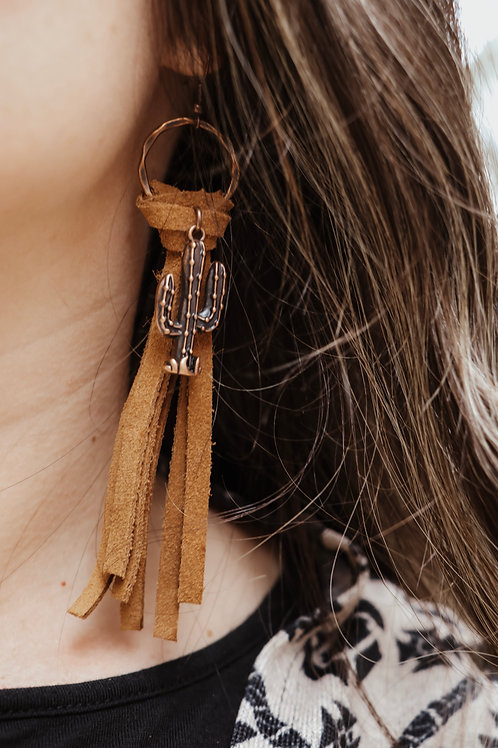 Brown Leather Tassel Earring with Cactus Charms