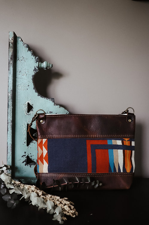 Pendleton Wool Panel Pouch - Brown Leather