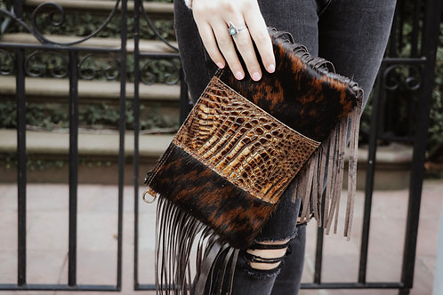 Hair-on-Hide Leather Clutch with Savannah Gator Patch