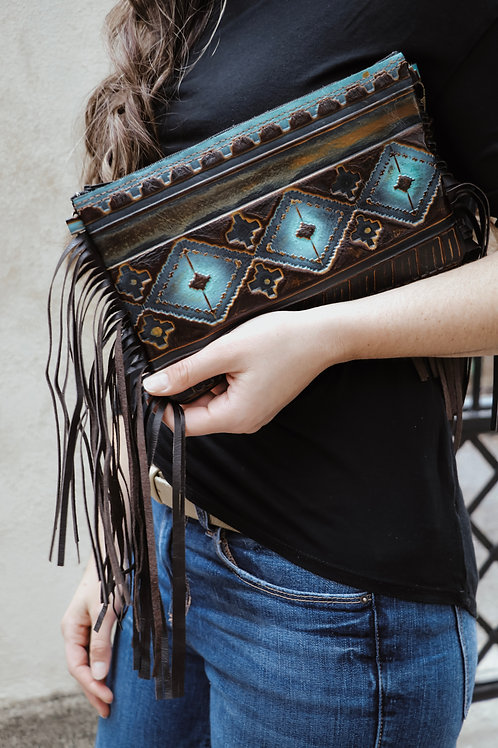 Blue Navajo Leather Clutch