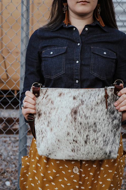 Brown Speckled Cowhide Panel Pouch - Dark Brown Leather