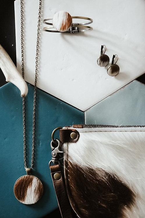 Cowhide Earrings - Brown and White Cowhide