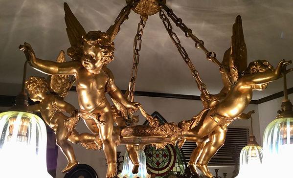 フランス1890年頃ブロンズ天使のランプ
