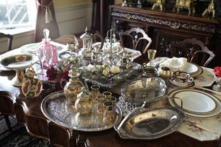 純銀アンティーク食器陶器類、ガラス小物