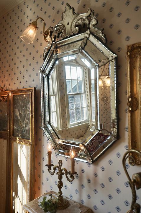 フランスアンティークのエッチングガラス、ベネチアンミラー