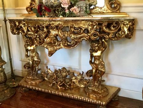 イタリア製 バロック様式 金箔細工のコンソール&ミラー