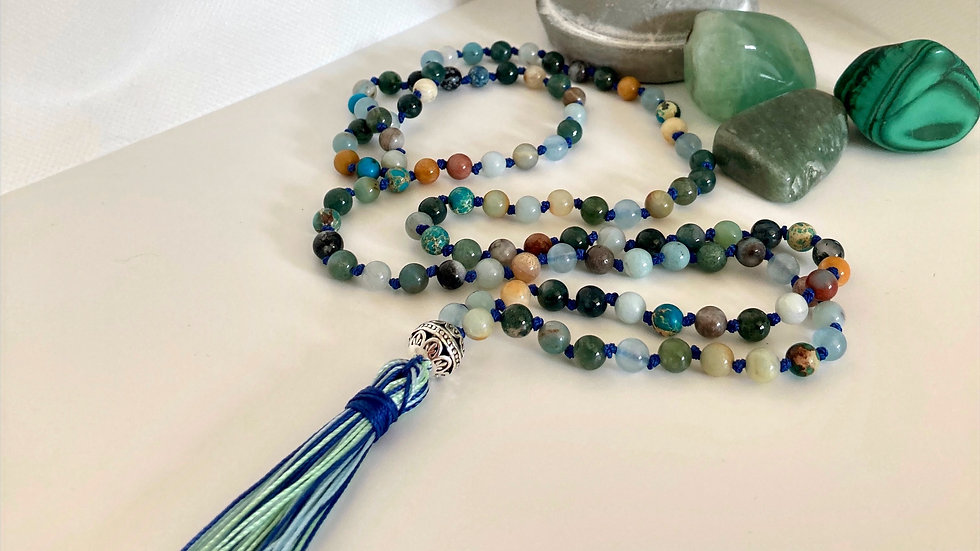 Gaia Mala Bead Necklace with 108 beads