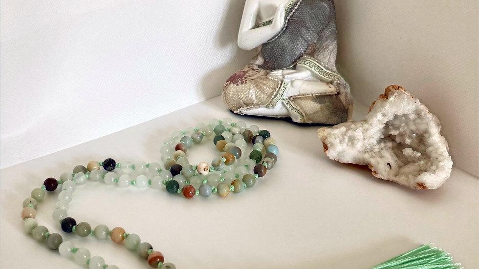 Green Tara Mala Bead Necklace with 108 Beads